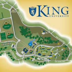 Campus map of King University in Bristol, Tennessee